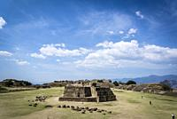 Monte Alban, a pre-Columbian archaeological site, View of Main Plaza from the South Platform, with Building J in the foreground. , Oaxaca, Mexico.