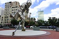 Newark, New Jersey USA 6,000 pound statue on Prudential Plaza by Jon Krawczyk depicting a hockey player at the home of the New Jersey Devils erected i...