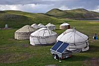 Yurt camp for tourists supplied with solar generated electricity. At Lake Tolpur ( Pamir mountains, Kyrgyzstan).