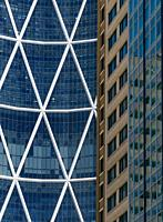 Canada, Alberta, Calgary. Architectural detail of the Bow Tower, a 57 story office tower in the downtown core.