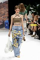 October 17, 2018, Tokyo, Japan - Models wearing fashion brand 'kotohayokozawa' walk down the catwalk during the Amazon Fashion Week TOKYO 2019 S/S col...