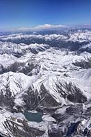 The peaks of Kashmir and Karakoram, with Tirich Mir (7708m) in the Hindu Kush seen in the back, Kashmir, India.