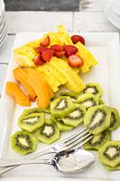 Sliced fruit mix.