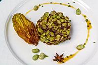 Habas con morcilla e hinojo reducido (Beans with black pudding and reduced fennel). Cuisine of La Rioja, Spain.