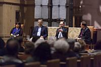 Seattle, Washington: Right Rev. Greg Rickel (r), Bishop of the Episcopal Diocese of Olympia, moderates a panel discussion at St. Mark's Episcopal Cath...