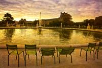 The Tuileries Gardens near the Louvre in Paris, France.