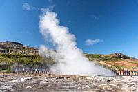 Geyser. Boiling waters. Geothermalism Geysir Golden Circle. Iceland
