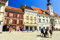 Building facade at Main Square (Travni Trg). Maribor. Lower Styria region. Slovenia, Europe.