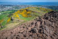 A view of the city scape from Arthurs Seat (Holyrood Park) in Scotland.