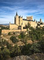 The Alcazar with the Cathedral and city of Segovia in the background, Segovia, Central Spain.