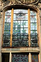 Modernist window, Eixample district, Barcelona, Catalonia, Spain
