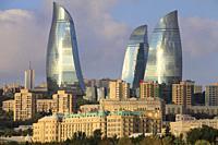 Azerbaijan, Baku, skyline, Flame Towers,.