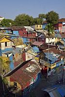 neighbourhood alongside the Kali Code River, Yogyakarta, Java island, Indonesia, Southeast Asia.
