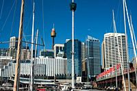 Sydney, New South Wales, Australia - A view from Darling Harbour at Sydney's city skyline of the Central Business District with the Sydney Tower in th...