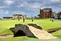 The Royal and Ancient Golf Club of St Andrews clubhouse on the 18th Hole of Old Course St Andrews Links golf course at Swilken Brdige Scotland UK.