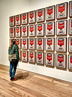 Woman Admiring Andy Warhol´s Campbell´s Soup Paintings. New York, NY, USA