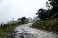 Foggy landscape on the way to Taramundi, Asturias, Spain.