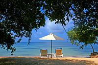 hammocks and parasol on the beach, Barú Peninsula, Caribbean Sea, Colombia