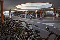 Bicycle parking in Groningen central train station.