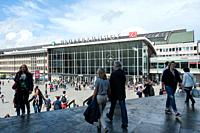 Cologne, Northrhine-Westphalia, Germany, Europe - People are seen in front of the west entrance of the Cologne main railway station.