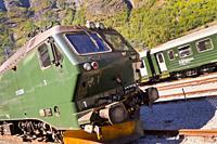 Flam Raiway Locomotive, Flam's Bhan, Aurlandsfjorden Fjord, Flam, Norway, Scandinavia, Europe.
