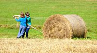 Two Boys Moving Bale of Hay with Stick as a Lever.