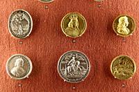 Ancient Greek coins in Numismatic Museum in Athens.