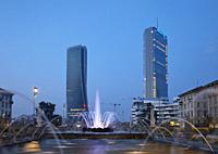 The moder architecture of Citylife district, from Giulio Cesare square, in Milan, Italy.
