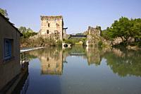 Visconteo bridge in Borghetto of Valeggio sul Mincio, Verona province, Italy.
