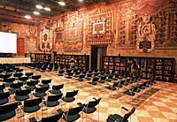 Italy, Emilia Romagna, Bologna, Hall of Jurists, Stabat Mater Hall, 16th Century, Archiginnasio Municipal Library.
