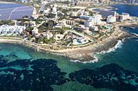 Colonia Saint Jordi. Aerial view of the South Coast of the island of mallorca, Balearic Island, Spain. .