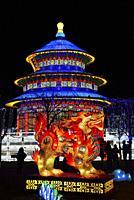 France, Tarn, Gaillac, Festival des lanternes (Chinese Lantern Festival), Qilin, mythical animal, half dragon, half lion, and temple of Sky. . The fes...