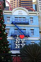 I Love New York logo on the front of a building in New York New York Las Vegas, Nevada.