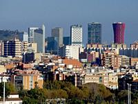 Skyscrapers in Barcelona, including famous Hotel Porta Fira and Renaissance Hotel. Hospitalet de Llobregat city. Barcelona Metropolitan Area, Cataloni...