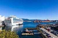 Cruise ship in dock at Vancouver taking on passengers and supplies for an Alaskan cruise.