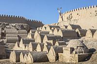 Old cemetery at the city wall, old city, Khiva, Uzbekistan.