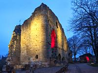 The Kings Tower at Knaresborough Castle floodlit at dusk Knaresborough North Yorkshire England.