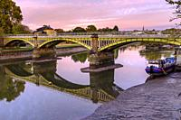 England,Ricgmond-Upon-Thames. River Thames at low tide and Twickenham railway Bridge