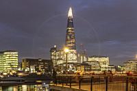 England,London at night- The Shard, Guy's Hospital, Soutwark Crown Court, HMS Belfast.