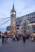 Christmas tree by Leicester Clock tower in the centre of the city.