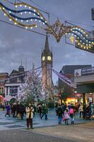 HDR image of the christmas tree by Leicester Clock tower in the centre of the city.