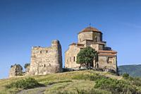 Georgia, Mtskheta, spiritual town where Christianity was established in 327AD, Jvari Church, morning.