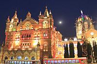 Chhatrapati Shivaji Maharaj Terminus at Night, Mumbai, Maharashtra, India.