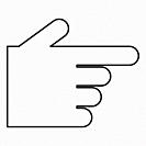 Pointing hand icon black color vector illustration flat style outline