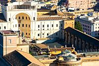 Aerial view of Vatican museum buildings seen from St Peter's Cathedral viewpoint. Rome. Italy.