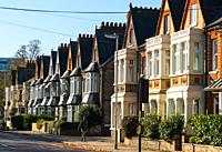 Victorian Terraced houses on Tenison Road, Cambridge, England, UK.
