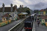 Corfe Castle, steam train, Dorset, England, United Kingdom.
