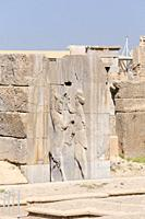 Ancient column with relief in Persepolis, Iran.