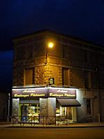 bakery at night, Lauzun, Lot-et-Garonne Department, Nouvelle Aquitaine, France.