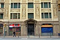 building with Sgraffito decorated facade, Via Laietana, Barcelona, Catalonia, Spain